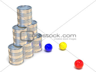 Tin cans and three balls. Side view. 3D