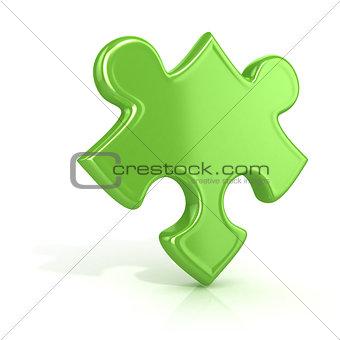 Single, green, standing jigsaw puzzle piece. 3D