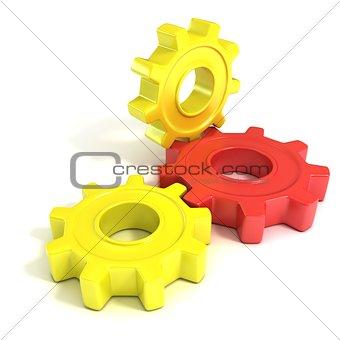 Three gear wheels, 3D