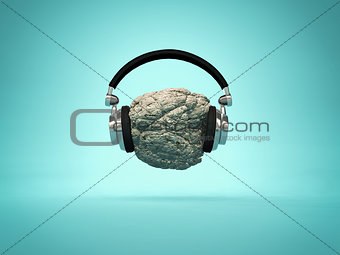 Listening rock music concept