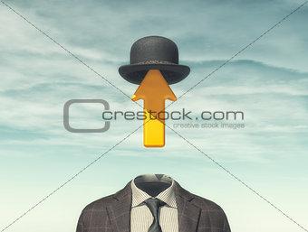 Business man with an arrow instead