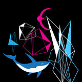 Abstract graphic background from geometric shapes and fish