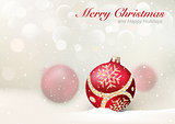 Elegant Christmas Greeting with Red Baubles