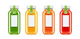 Glass juice bottles. Ecological beverage.