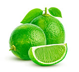 Lime isolated on white background. Group of whole and cut fresh limes with leaves over white background