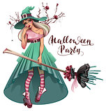 Cosplay fashionable dress for Halloween party. Beautiful young woman witch with broom