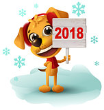 Yellow dog symbol of year 2018 holds sign