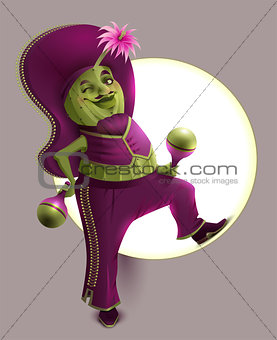 Green cactus male in Mexican national clothes holds maracas