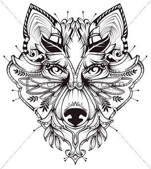 Abstract Dog Head Tattoo illustration