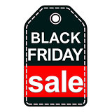 Black Friday sale tag isolated on white background.