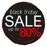 Black Friday sale sticker, badge, sign, stamp, logo, banner, icon or label.