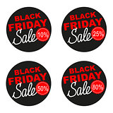 Black Friday sale vector sticker set isolated on white background.