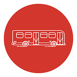 Line art style bus icon