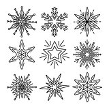 Set of snowflakes in thin line style