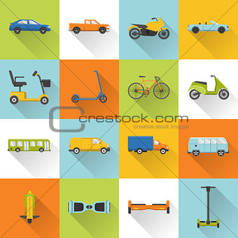 Collection of transport icons with long shadow