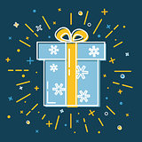Shining gift box icon with snowflakes in flat style