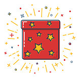 Shining gift box icon with stars in flat style