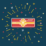 Shining gift box icon in flat style