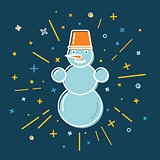 Colored snowman icon in thin line style