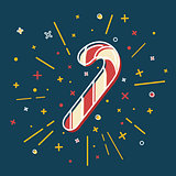 Colored Christmas candy cane icon in thin line style