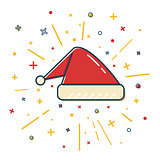 Colored Santa hat icon in thin line style.