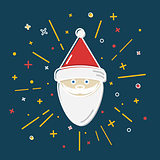 Colored Santa Claus icon in thin line style.