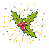 Colored Christmas mistletoe icon in thin line style