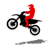 Silhouettes Rider participates motocross championship. Vector illustration