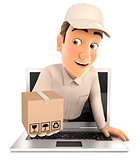 3d delivery man coming out of laptop with package
