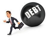 3d businessman running in front of debt
