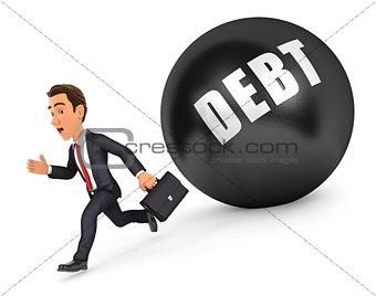 3d businessman running in front of debt