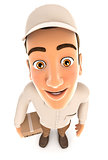 3d delivery man standing and looking up at camera
