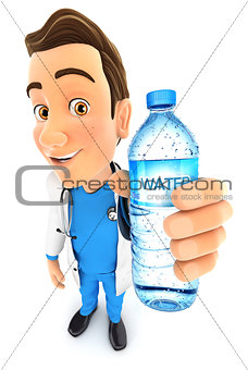 3d doctor holding water bottle