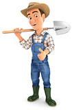 3d farmer carrying shovel on shoulder