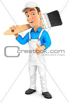 3d painter carrying paint brush on shoulder