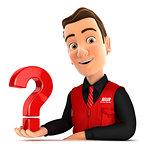 3d seller presenting question mark