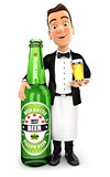 3d waiter standing next to beer bottle