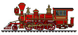 Vintage red american steam locomotive