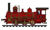 Historical red steam locomotive