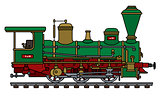 Historical green steam locomotive