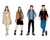 Four fashionable teenagers