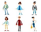 Six fashionable characters