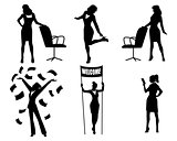 Silhouettes of businesswomen in action