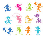Set of cartoon children