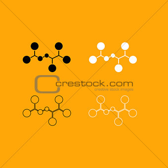 Molecule set black and white icon .
