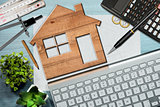 Construction Industry Concept - Wooden House Model