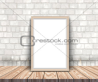 3D blank silver picture frame on a wooden table leaning against