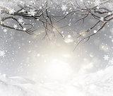3D Christmas background with snowy tree branches