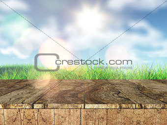 3D rustic wooden table looking out to a grassy landscape