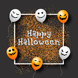 Halloween confetti background with balloons